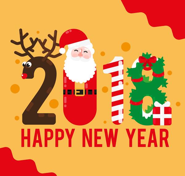 矢量圣诞节所需点数: 0 点 关键词: 可爱2018年新年快乐艺术字矢量图