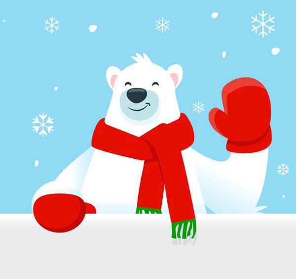 围巾,手套,雪花,打招呼,北极熊,冬季,矢量图,ai格式 下载文件特别说明