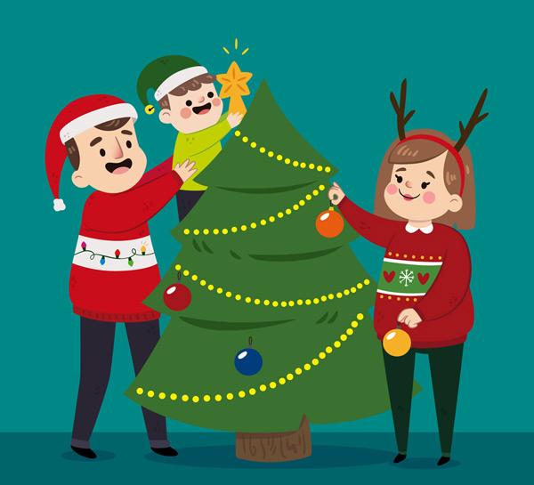 素材分类: 矢量圣诞节所需点数: 0 点 关键词: 卡通装饰圣诞树的一家图片