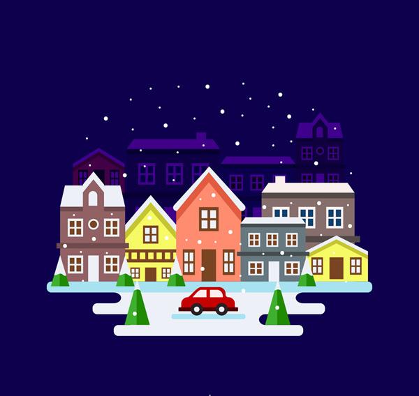 圣诞夜小城风景
