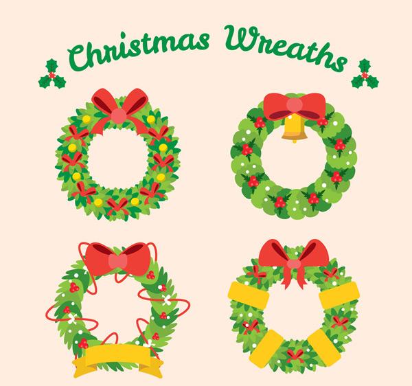 0 点 关键词: 4款绿色圣诞节花环矢量素材,蝴蝶结,铃铛,圣诞节,花环