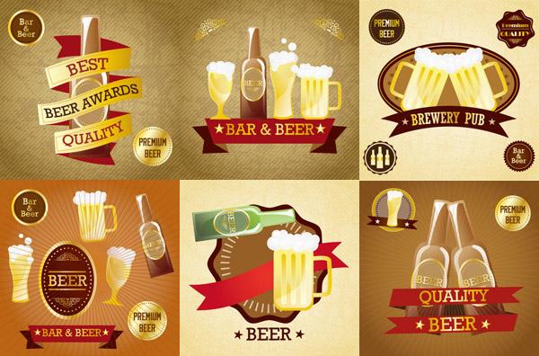 啤酒标贴矢量
