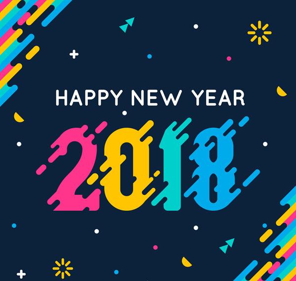 矢量元旦所需点数: 0 点 关键词: 彩色2018年新年艺术字矢量素材,2018