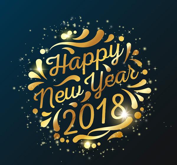 光晕,新年快乐,狗年,happy,new,year,2018年,金色,花纹,艺术字,矢量图