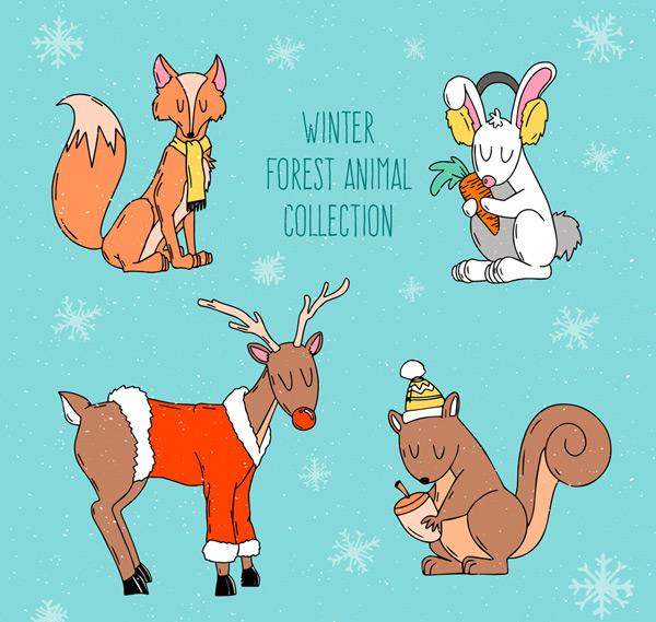 0 点 关键词: 4款手绘冬季闭眼睛森林动物矢量素材,雪花,兔子,狐狸