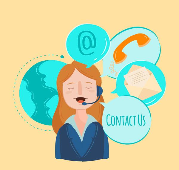 客服,女子,商务,彩绘,地球,电话,语言气泡,矢量图,ai格式 下载文件
