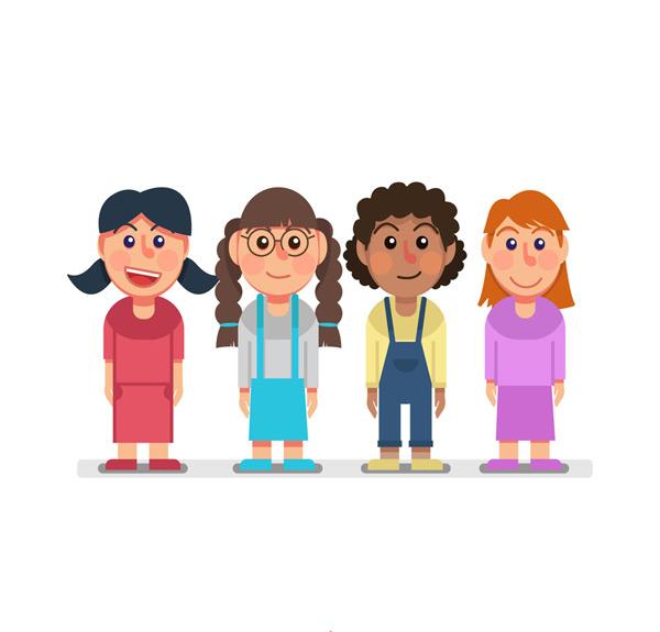素材分类: 矢量儿童幼儿所需点数: 0 点 关键词: 4款可爱笑脸女孩