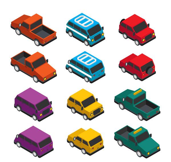 矢量交通所需点数: 0 点 关键词: 12款彩色立体车辆矢量素材,轿车