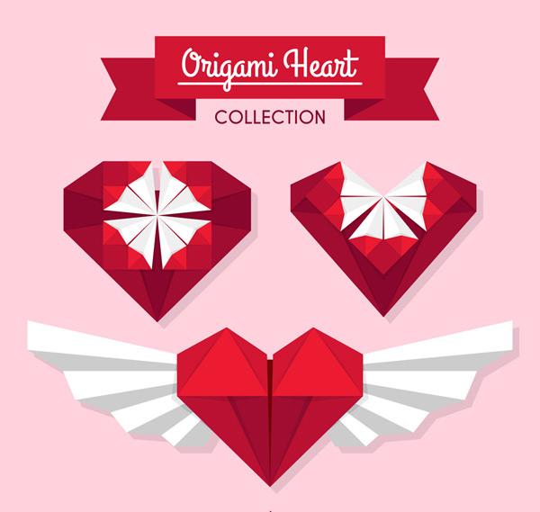 红色爱心折纸