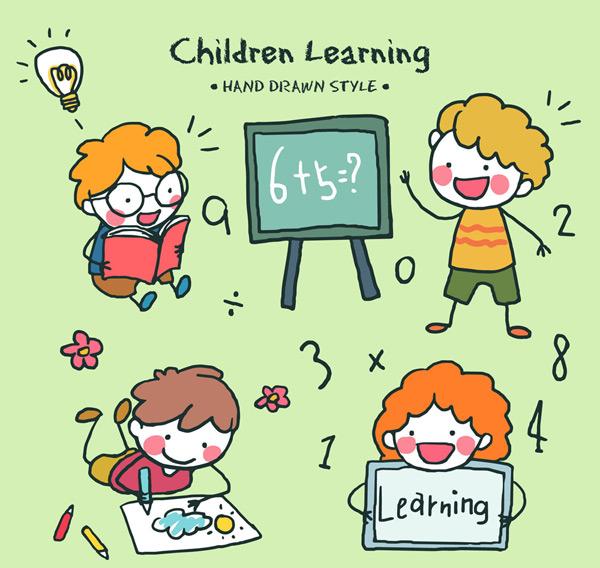 可爱学习儿童矢量