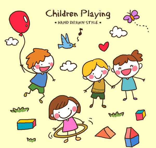 手绘玩耍儿童
