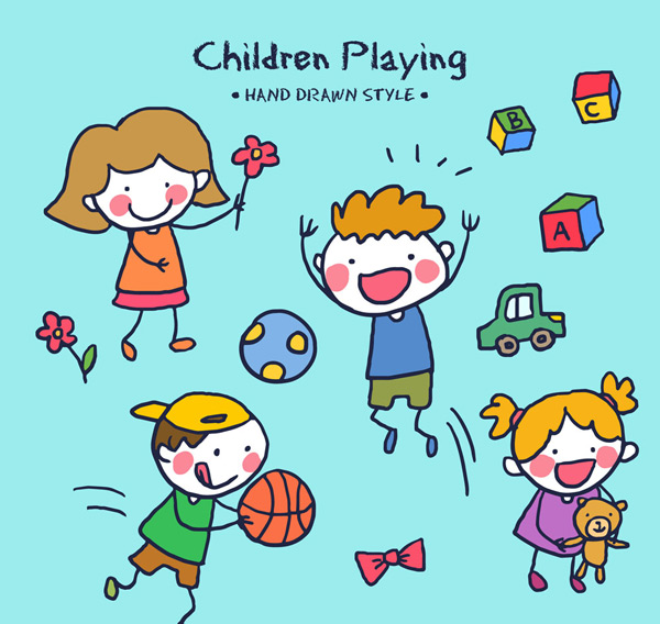 关键词: 4款可爱手绘玩游戏的儿童矢量图,皮球,足球,积木,花卉,篮球