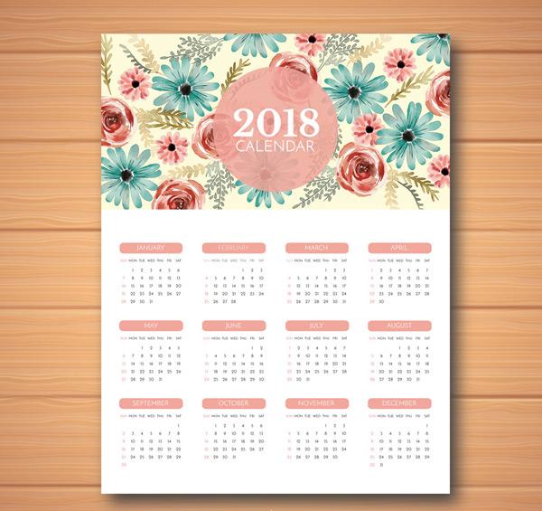 2018水彩花卉年历