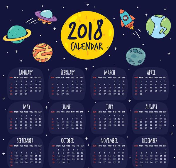 飞船,飞碟,星球,彩绘,2018年,宇宙,年历,狗年,矢量图,ai格式 下载文件图片