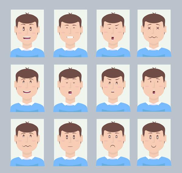 男子表情头像矢量