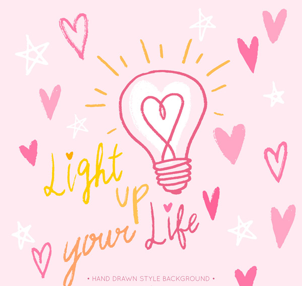 彩绘灯泡和爱心