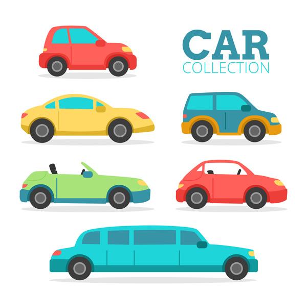 关键词: 6款彩色车辆侧面矢量素材,轿车,敞篷车,车,交通工具,矢量图