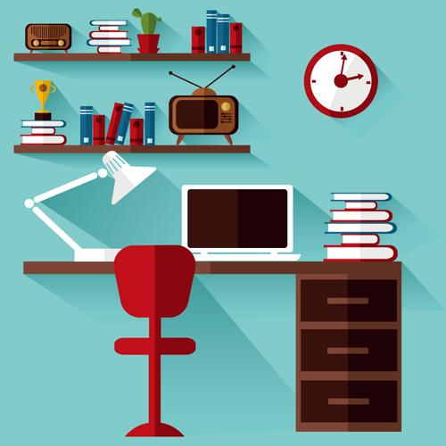 扁平化,笔记本电脑,书桌,椅子,桌椅,长阴影,置物架,书籍,植物,盆栽