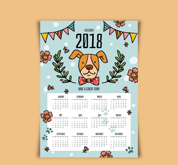 三角拉旗,花卉,树枝,狗年,2018年,狗,年历,矢量图,ai格式 下载文件