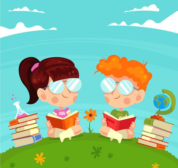 0 点 关键词: 可爱草坪上读书的2个儿童矢量图,地球仪,花卉,云朵