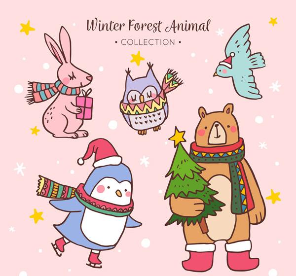 可爱冬季动物