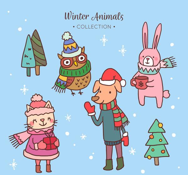 0 点 关键词: 4款可爱冬装动物矢量素材,猫头鹰,兔子,狗,猫,围巾