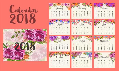 素材分类: 年历日历矢量所需点数: 0 点 关键词: 2018花卉日历矢量图片