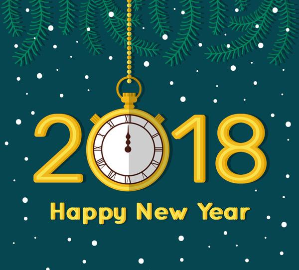 矢量元旦所需点数: 0 点 关键词: 2018年金色时钟艺术字矢量素材
