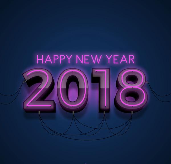 2018紫色灯艺术字