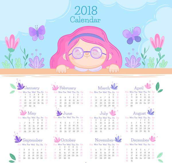 素材分类: 年历日历矢量所需点数: 0 点 关键词: 2018年可爱女孩年历