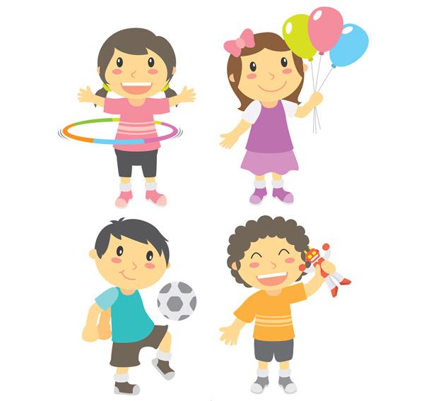 卡通玩耍男孩女孩_素材中国sccnn.com