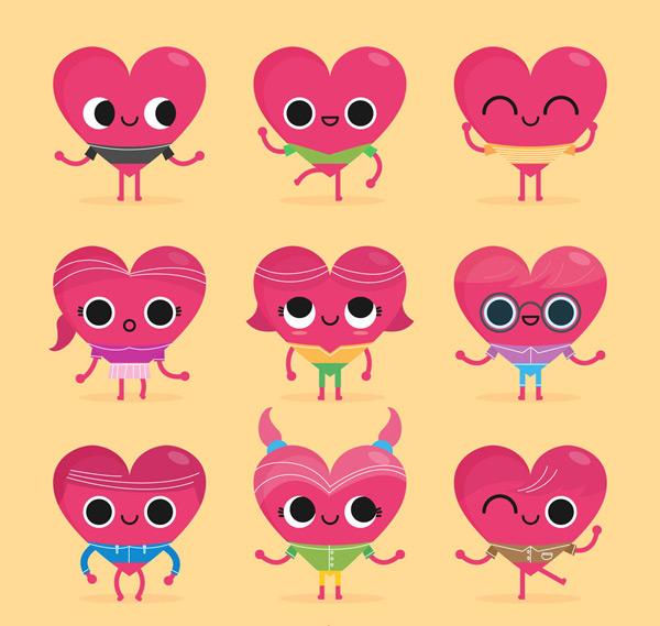 卡通表情爱心