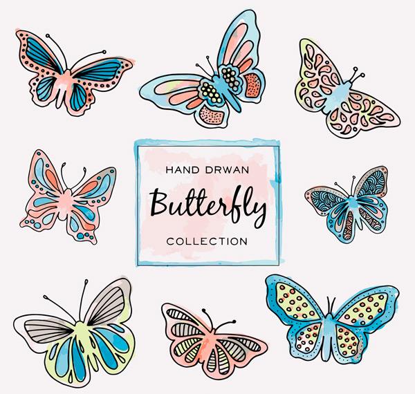 0 点 关键词: 8款手绘蝴蝶矢量素材,手绘,蝴蝶,昆虫,矢量图,ai格式