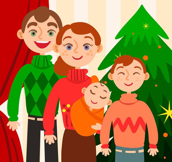 圣诞节四口之家