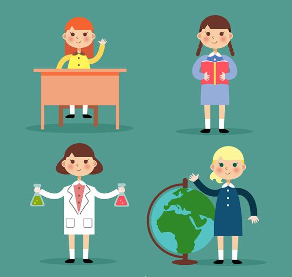素材分类: 矢量儿童幼儿所需点数: 0 点 关键词: 4款可爱校园女孩
