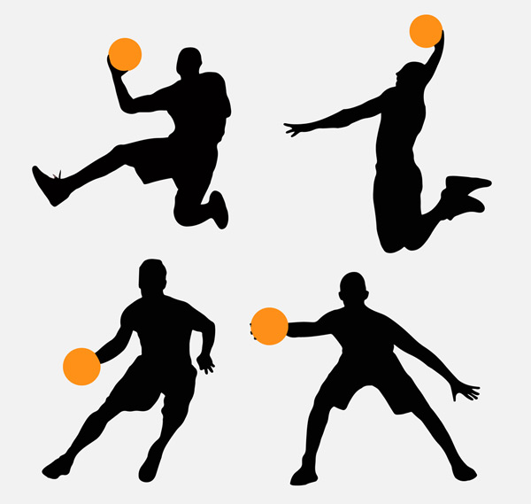 4款创意篮球人物剪影矢量素材,篮球,人物,剪影,男子,运动,矢量图,ai