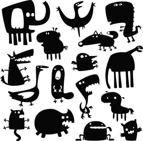 卡通动物剪影_素材中国sccnn.com