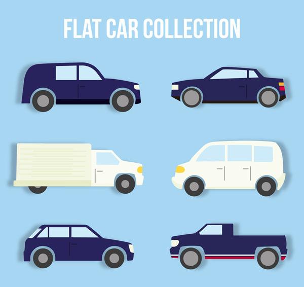 0 点 关键词: 6款扁平化车辆设计矢量素材,轿车,货车,面包车,扁平化