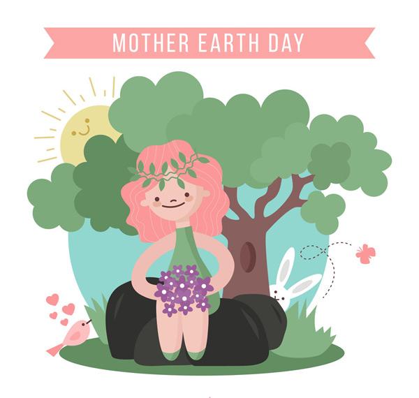 太阳,兔子,石头,草丛,蝴蝶,鸟,彩绘,世界地球日,女孩,森林,矢量图,ai