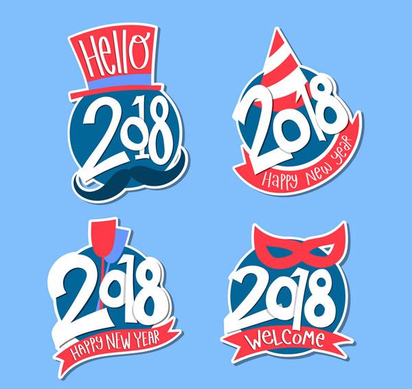 0 点 关键词: 4款彩色2018年新年快乐标签矢量图,面具,节日礼帽,胡子