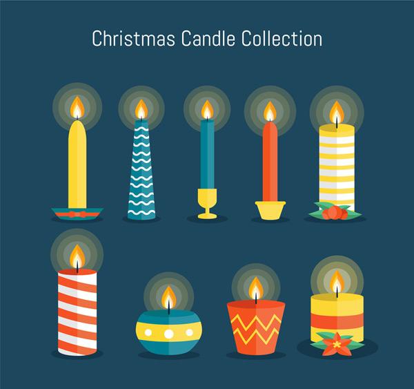素材分类: 矢量圣诞节所需点数: 0 点 关键词: 9款彩色圣诞蜡烛矢量