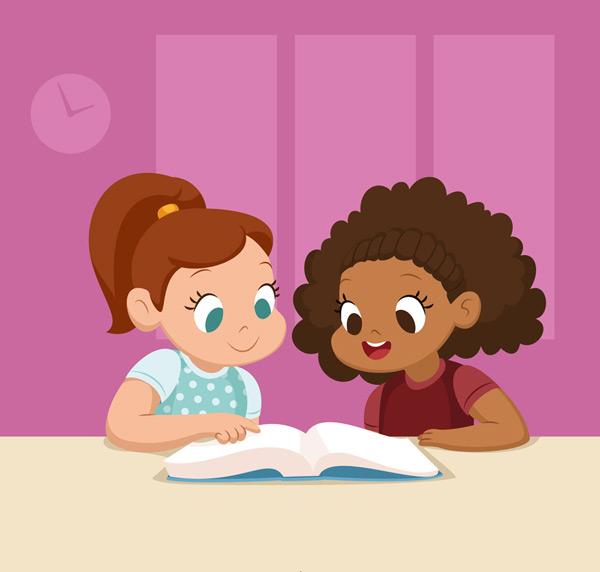 关键词: 可爱读书的2个女孩矢量素材,书本,人物,读书,女孩,可爱,矢量