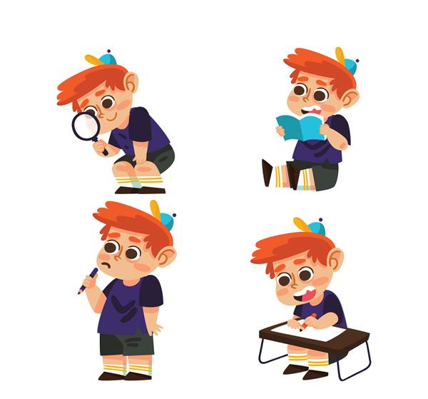 素材分类: 矢量儿童幼儿所需点数: 0 点 关键词: 4款可爱男孩矢量