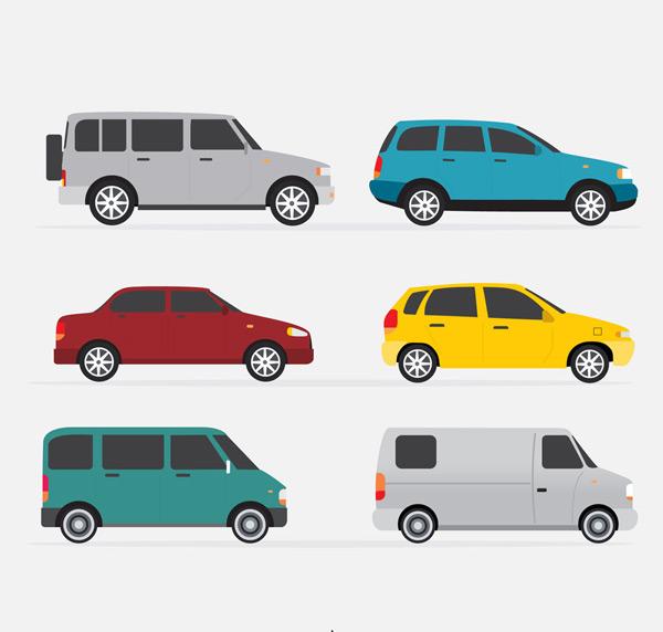 6款彩色车辆侧面设计矢量素材,轿车,商务车,彩色,车,交通工具,矢量图