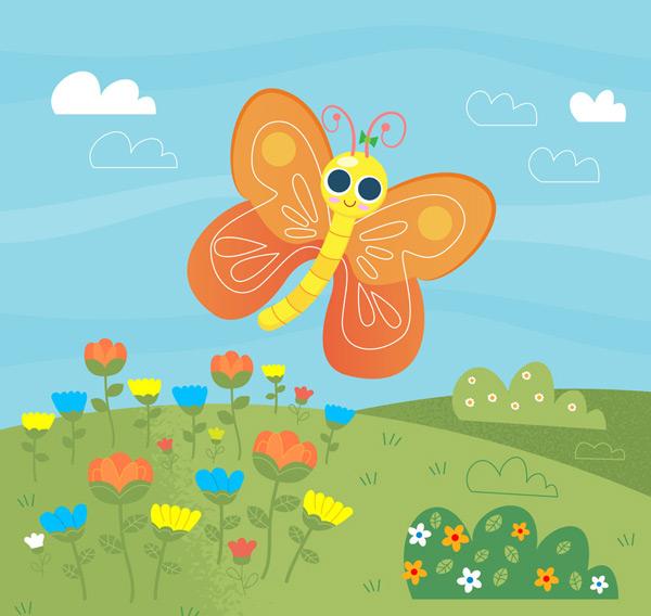 卡通大眼睛蝴蝶