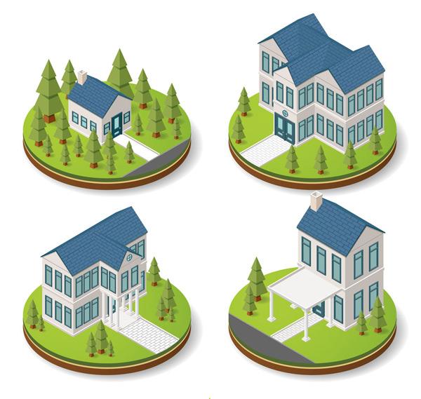 4款立体蓝色屋顶房屋矢量素材,松树,树木,草地,花园,草坪,立体,房屋