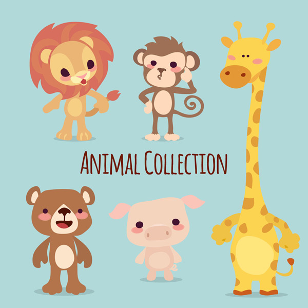 0 点 关键词: 5款可爱动物矢量素材,野生动物,家畜,猪,狮子,猴子,熊