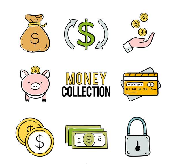 手,金币,储蓄罐,信用卡,银行卡,锁头,钱币,手绘,金融,图标,商务,矢量