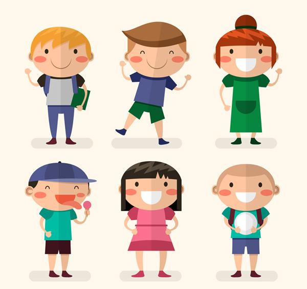 素材分类: 矢量儿童幼儿所需点数: 0 点 关键词: 6款扁平化笑脸儿童