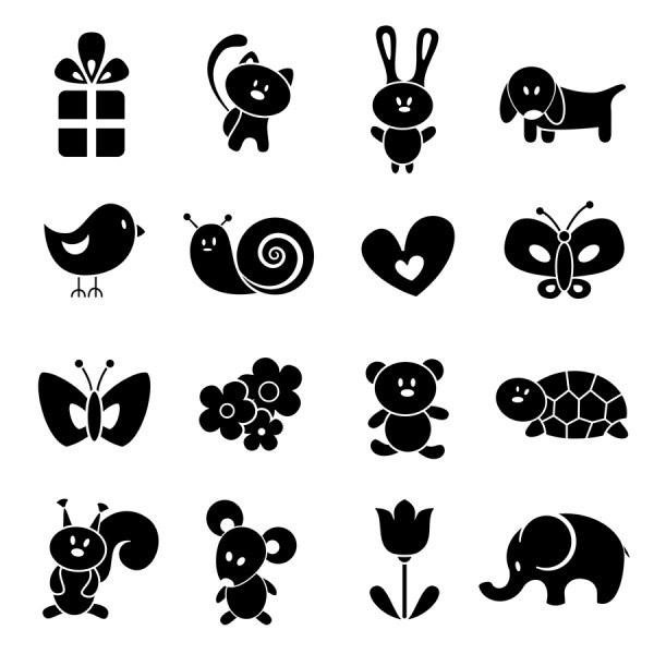卡通可爱动物剪影_素材中国sccnn.com